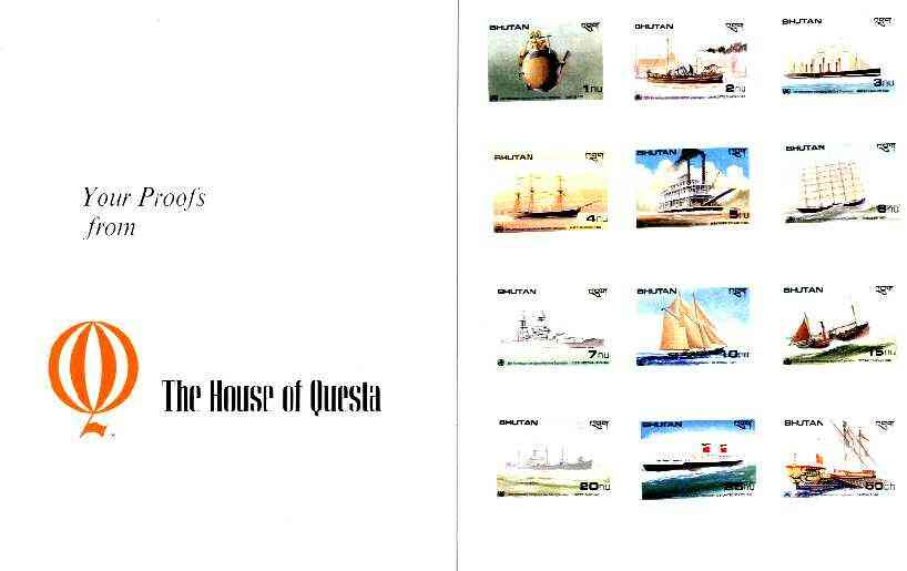 Bhutan 1989 International Maritime Organisation - the complete set of 12 imperf values mounted in Folder entitled 'Your Proofs from the House of Questa', exceptionally rare ex Government archives (as Sc 737-48)