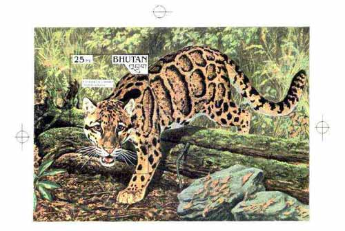 Bhutan 1990 Endangered Wildlife - Intermediate stage computer-generated artwork (as submitted for approval) for 25nu m/sheet (Coloured Leopard) 200 x 140 mm similar to is...