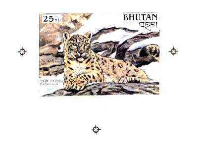Bhutan 1990 Endangered Wildlife - Intermediate stage computer-generated artwork (as submitted for approval) for 25nu (Snow Leopard) twice stamp size similar to issued des...