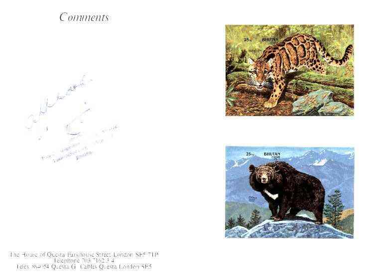 Bhutan 1990 Endangered Wildlife - 25nu (Leopard) & 25nu (Black Bear) imperf m/sheets mounted in Folder entitled