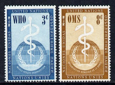 United Nations (NY) 1956 World Health Organisation set of 2 unmounted mint, SG 43-44