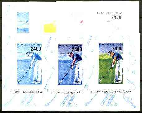 Batum 1996 Sports - Golf 2400 value sheetlet - the set of 7 imperf progressive proofs comprising the 4 individual colours, plus 2, 3 and all 4-colour composites unmounted mint