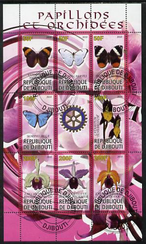 Djibouti 2010 Butterflies & Orchids #2 perf sheetlet containing 8 values plus label with Rotary logo fine cto used