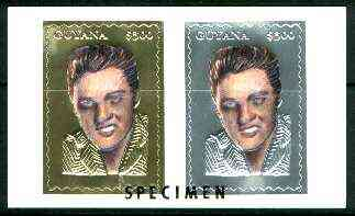 Guyana 1995 Elvis Presley 60th Birthday sheetlet in card containing two $300 values embossed in gold & silver foil (1 of each with saw-tooth edges) overprinted SPECIMEN
