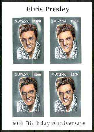 Guyana 1995 Elvis Presley 60th Birthday m/sheet in card containing four $300 values embossed in silver foil (with plain edges) from a numbered limited printing