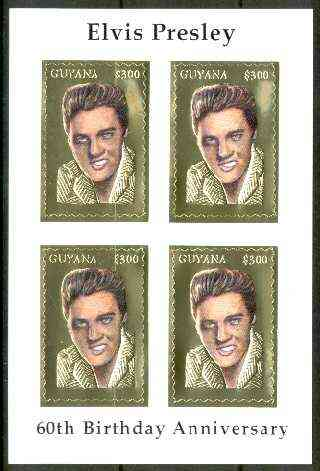 Guyana 1995 Elvis Presley 60th Birthday m/sheet in card containing four $300 values embossed in gold foil (with saw-tooth edges) from a numbered limited printing