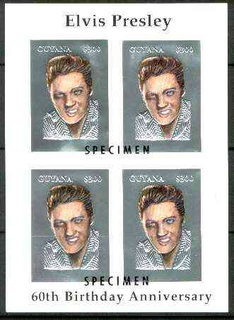 Guyana 1995 Elvis Presley 60th Birthday m/sheet in card containing four $300 values embossed in silver foil (with plain edges) overprinted SPECIMEN