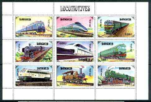 Mongolia 1997 Railway Locomotives sheetlet containing complete set of 9 values unmounted mint