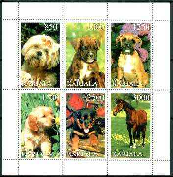 Karjala Republic 1997 Dogs perf sheetlet containing complete set of 6 (5 dogs, 1 horse) unmounted mint