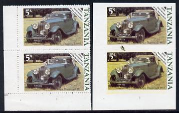 Tanzania 1986 Centenary of Motoring 5s Rolls Royce Phantom in unmounted mint imperf marginal pair (SG 457) plus normal pair
