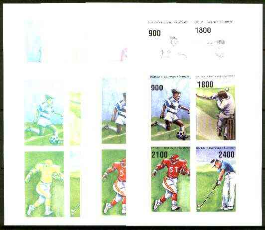 Batum 1996 Sports (Football, Cricket, American Football & Golf) set of 7 imperf progressive proofs comprising the 4 basic colours plus 2, 3 and all 4-colour composites un...