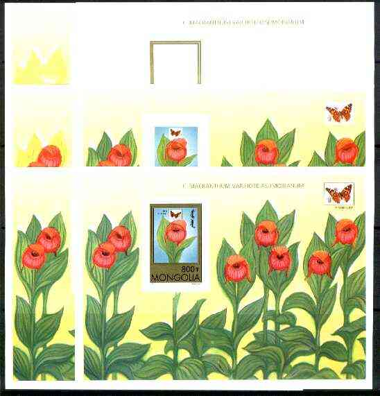 Mongolia 1997 Orchids and Butterflies miniature sheet #2 (C macranthum & Painted Lady) the set of 6 imperf progressive proofs comprising 2 individual colours plus 2, 3, 4 and all 5-colour composites, unmounted mint