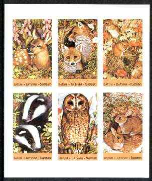 Batum 1996 Garden Animals imperf sheetlet containing complete set of 6 values unmounted mint