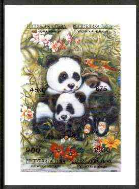 Touva 1995 Pandas composite imperf sheet containing complete perf set of 4