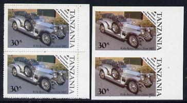 Tanzania 1986 Centenary of Motoring 30s Rolls Royce Silver Ghost in unmounted mint imperf marginal pair (SG 459) plus normal pair