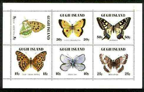 Gugh (Isles Of Scilly) 1978 Butterflies perf sheetlet containing complete set of 6 (only 3,000 sheets produced) unmounted mint
