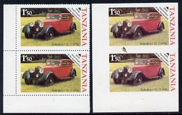 Tanzania 1986 Centenary of Motoring 1s50 Rolls Royce 20/25 in unmounted mint imperf marginal pair (SG 456) plus normal pair