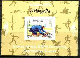 Mongolia 1996 Atlanta Olympics 30t (Cycling) imperf m/sheet with Centenary overprint unmounted mint