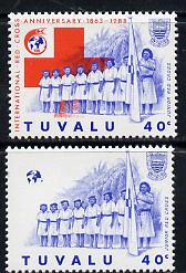 Tuvalu 1988 Red Cross 40c unmounted mint with red omitted (SG 519var) plus normal (spectacular)