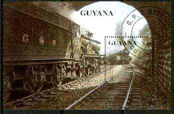 Guyana 1990 British Steam Locomotives m/sheet (GWR Castle Class) fine cto used Sc #2296
