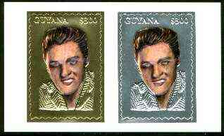 Guyana 1995 Elvis Presley 60th Birthday sheetlet in card containing two $300 values embossed in gold & silver foil (1 of each with saw-tooth edges)