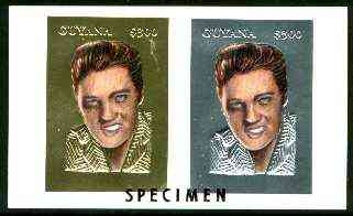 Guyana 1995 Elvis Presley 60th Birthday sheetlet in card containing two $300 values embossed in gold & silver foil (1 of each with plain edges) overprinted SPECIMEN