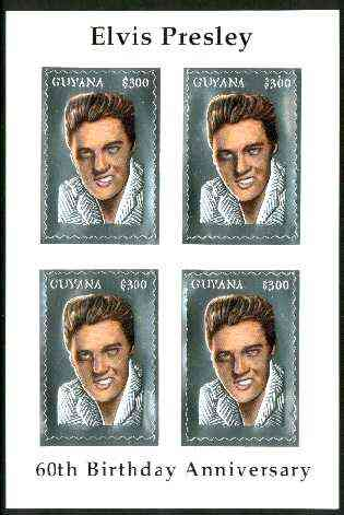 Guyana 1995 Elvis Presley 60th Birthday m/sheet in card containing four $300 values embossed in silver foil (with saw-tooth edges) from a numbered limited printing