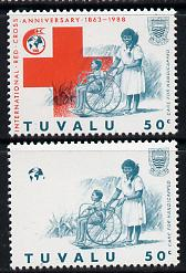 Tuvalu 1988 Red Cross 50c unmounted mint with red omitted (SG 520var) plus normal (spectacular)