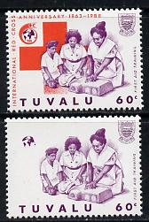 Tuvalu 1988 Red Cross 60c unmounted mint with red omitted (SG 521var) plus normal (spectacular)