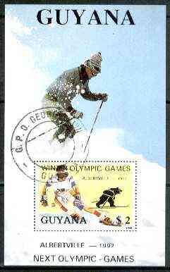 Guyana 1988 Winter Olympic Games $2 perf m/sheet (Downhill Skiing) fine cto used