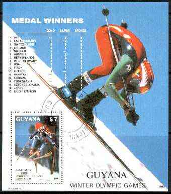 Guyana 1988 Calgary Winter Olympic Games $7 perf m/sheet (Skiing) fine cto used Sc #2022