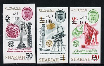 Sharjah 1966 surch with new values set of 3 imperf (Mi 246-48B) unmounted mint