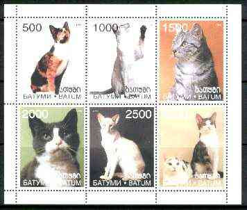 Batum 1998 Domestic Cats sheetlet containing complete set of 6 values unmounted mint