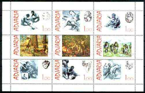 Adjaria 1999 Prehistoric Man sheetlet containing complete set of 9 values unmounted mint