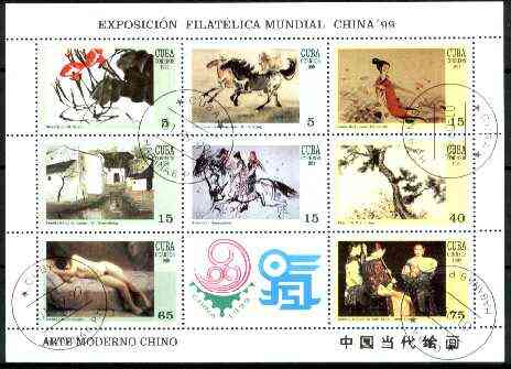 Cuba 1999 Chinese Paintings sheetlet containing complete set of 8 values plus label for China 99 Stamp Exhibition) fine cto used