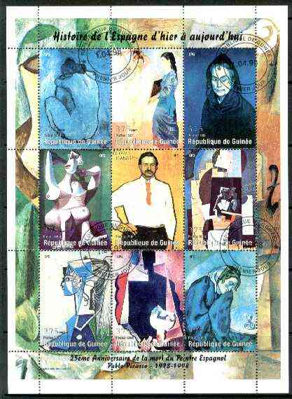 Guinea - Conakry 1998 Paintings by Picasso perf sheetlet #1 containing complete set of 9 values fine cto used, stamps on arts, stamps on picasso, stamps on nudes