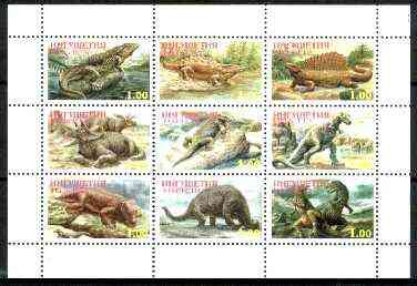 Ingushetia Republic 1999 Dinosaurs perf sheetlet containing complete set of 9 values unmounted mint
