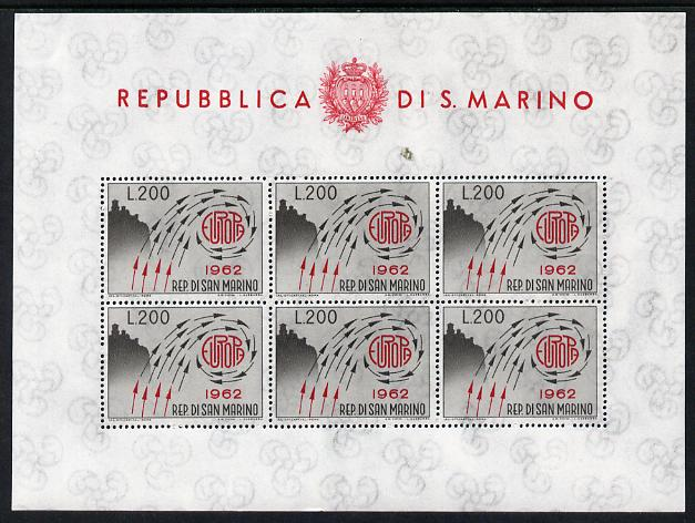 San Marino 1962 Europa 200 lira in sheetlet of 6 unmounted mint as SG 689