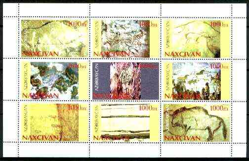 Naxcivan Republic 1999 Prehistoric drawings sheetlet containing complete set of 9 values unmounted mint