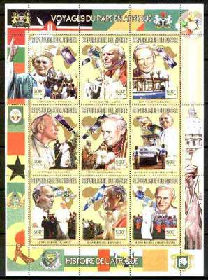 Niger Republic 1999 Pope Paul perf sheetlet containing complete set of 9 values (Papal Visits to Africa) unmounted mint