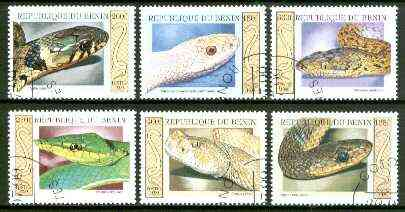 Benin 1999 Snakes complete perf set of 6 values fine cto used*