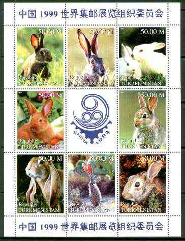 Turkmenistan 1999 Rabbits sheetlet containing complete set of 8 values plus label for China 99 Stamp Exhibition) unmounted mint