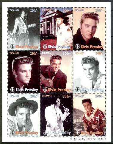 Tanzania 1996 Elvis Presley perf sheetlet containing 9 values unmounted mint