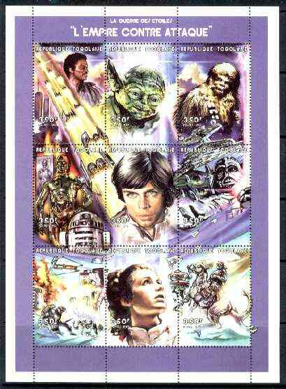 Togo 1999 Star Wars 'The Empire Strikes back' perf sheetlet containing 9 values, unmounted mint