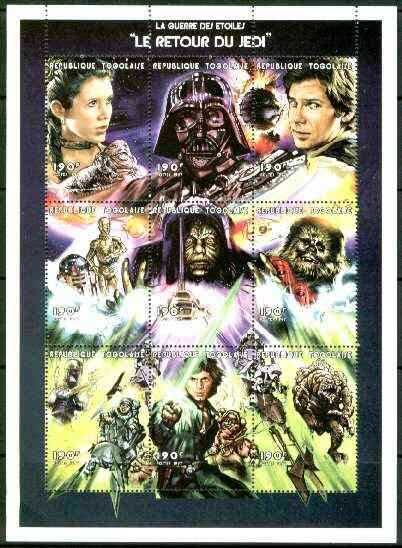 Togo 1999 Star Wars 'The Return of the Jedi' perf sheetlet containing 9 values, unmounted mint