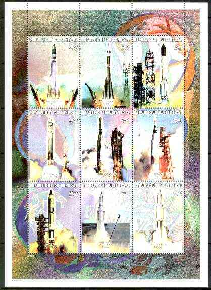 Senegal 1999 Space Travel perf sheetlet containing 9 values, unmounted mint