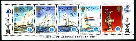 Solomon Islands 1986 America's Cup Yachting Championship, m/sheet #01 (of 10) comprising 5 values, unlisted by SG (the set of 10 m/sheets represent the complete set of 50 as listed as SG 570a) unmounted mint