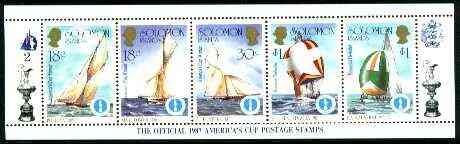 Solomon Islands 1986 America's Cup Yachting Championship, m/sheet #02 (of 10) comprising 5 values, unlisted by SG (the set of 10 m/sheets represent the complete set of 50 as listed as SG 570a) unmounted mint