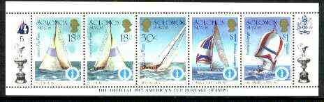 Solomon Islands 1986 America's Cup Yachting Championship, m/sheet #05 (of 10) comprising 5 values, unlisted by SG (the set of 10 m/sheets represent the complete set of 50 as listed as SG 570a) unmounted mint