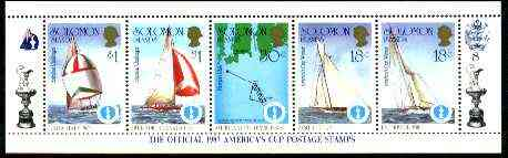 Solomon Islands 1986 America's Cup Yachting Championship, m/sheet #08 (of 10) comprising 5 values, unlisted by SG (the set of 10 m/sheets represent the complete set of 50 as listed as SG 570a) unmounted mint